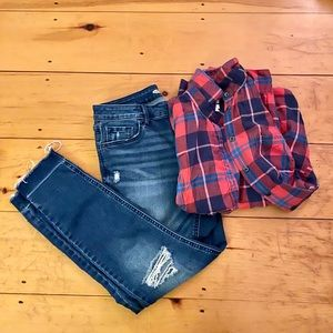 Woman's flannel and jeans